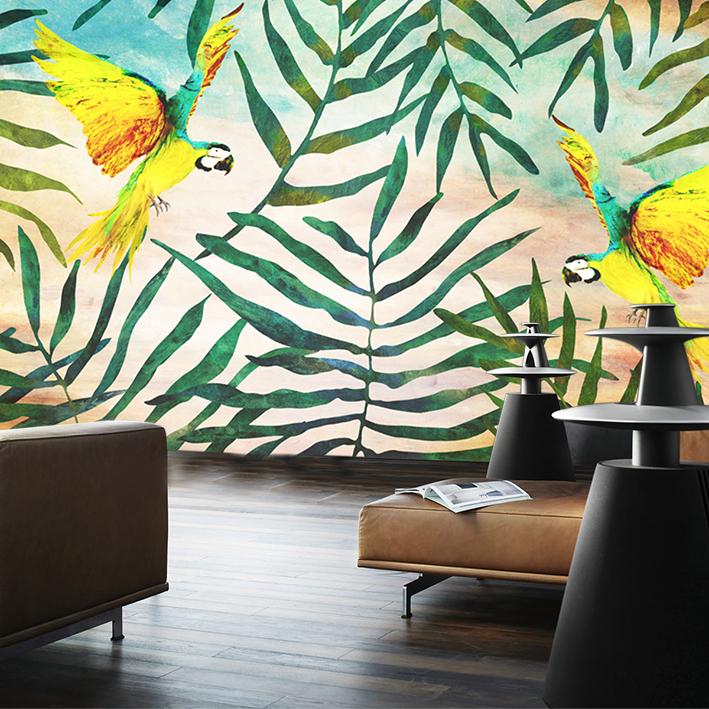 Skinwall Dream Wallpaper Tropical Parrots
