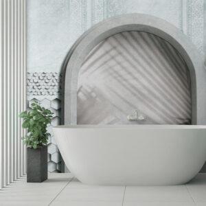 Installazione della carta da parati 138 - Salty breeze in un bagno.