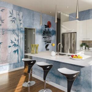Una cucina i cui muri sono ricoperti dalla carta da parati 139 Rising sun