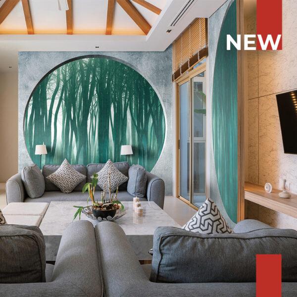 Un soggiorno decorato con la carta da parati 134A Shadow forest