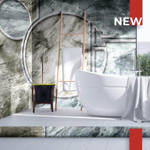 Un bagno decorato con la carta da parati 136 Bordered Marble