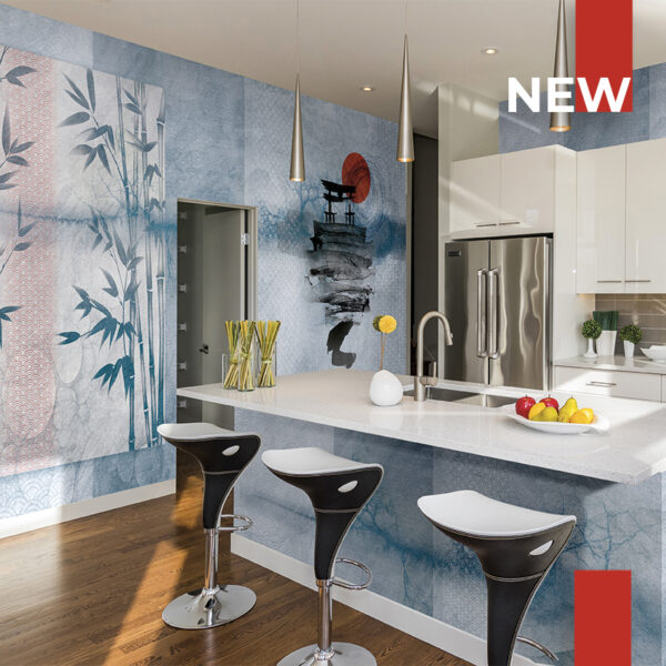 A kitchen covered with the wallpaper 139 Rising sun