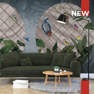 A living room embellished with wallpaper 140 Freedom Melody