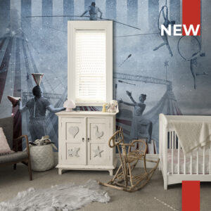 A kids' room decorated with the wallpaper 148A circus