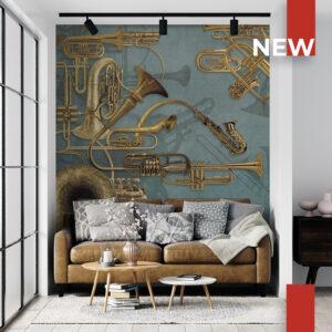 Un soggiorno decorato con la carta da parati 149B Ottoni machine.