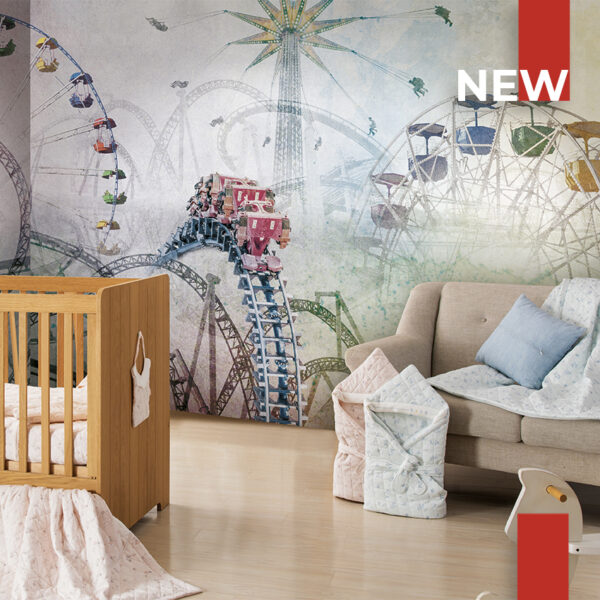 Application of the wallpaper 150 roller coaster in a children's room