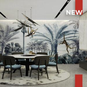 Un salotto moderno decorato con la carta da parati 741 Vintage Jungle Monkey