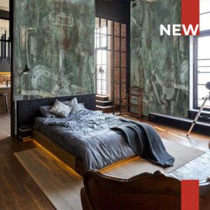 Un loft in stile urbano decorato con la carta da parati 750 The sound of the rust.