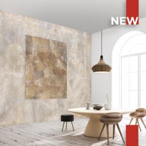 Una sala da pranzo con la carta da parati 752 Daughters of Zeus sul muro e nel quadro.