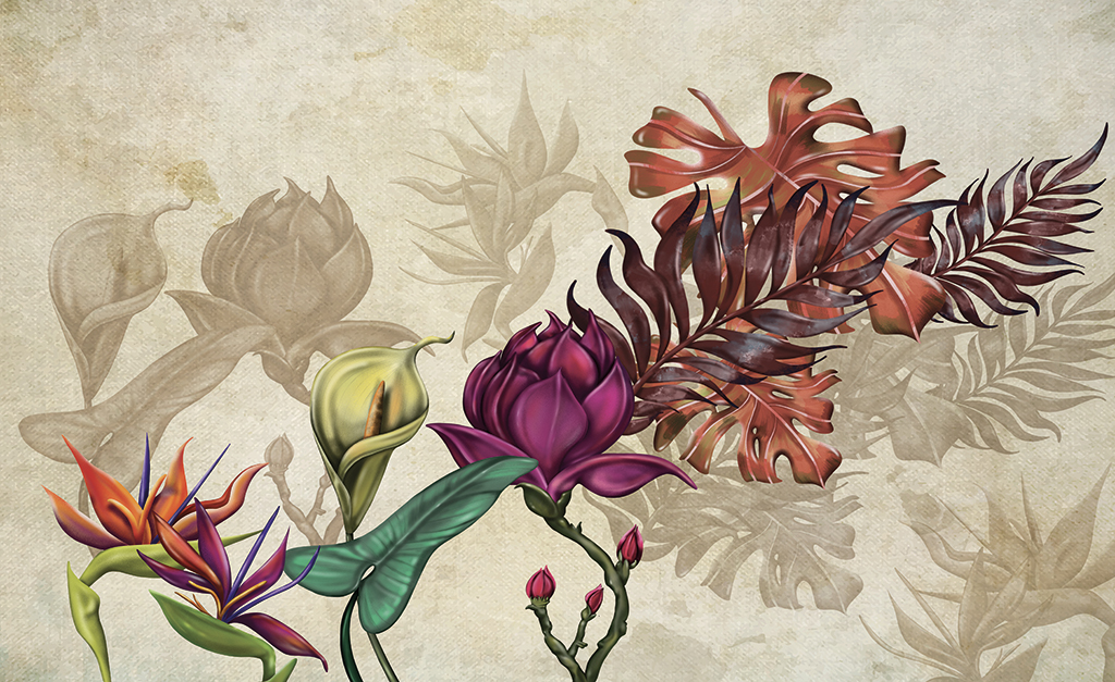 Complete visual of wallpaper 754 Autumn Flowers