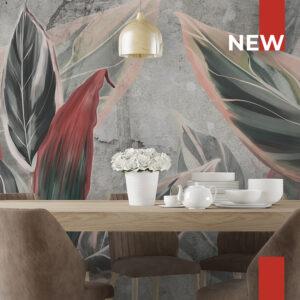 Una sala da pranzo decorata con la carta da parati 759B Pink leaves.