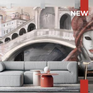 Un salotto arredato con la carta da parati 761 Red mask in Venice.