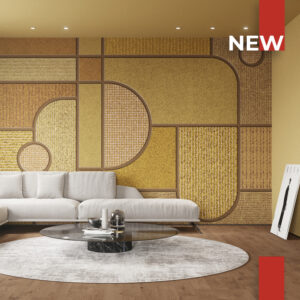 A 50's-style living room is decorated with wallpaper 763 Grid 2.