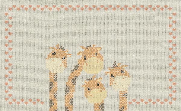 Disegno completo della carta da parati 767 Cross stitch giraffe.