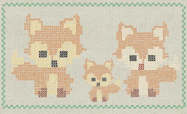 Disegno completo della carta da parati 768 Cross stitch fox.