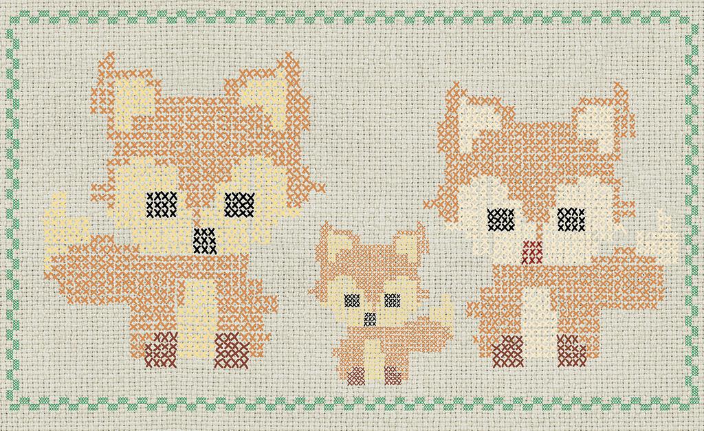 Complete visual of wallpaper 768 Cross stitch fox.