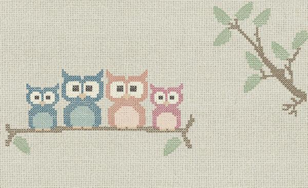 Disegno completo della carta da parati 769 Cross stitch owl.