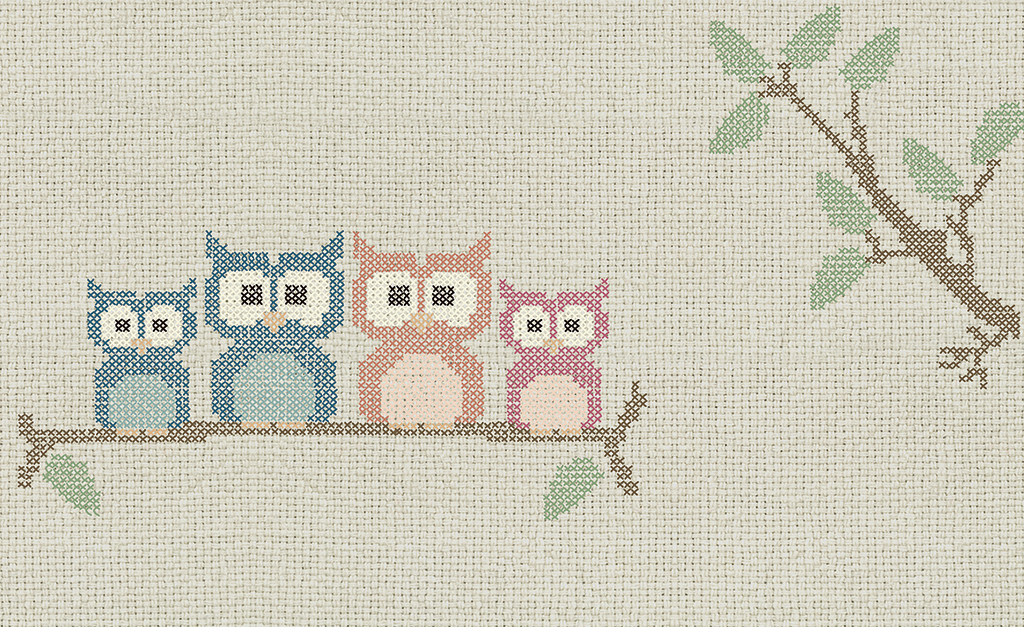 Complete visual of wallpaper 769 Cross stitch owl