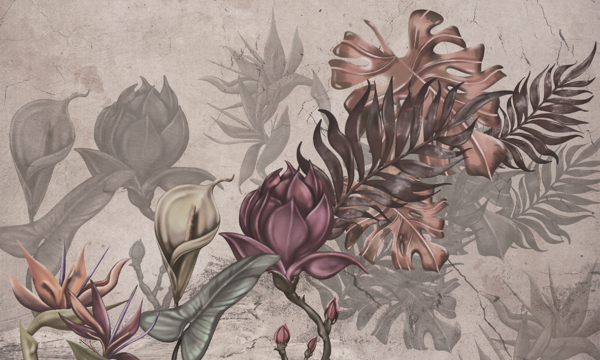 Complete visual of wallpaper 754B Autumn Flowers